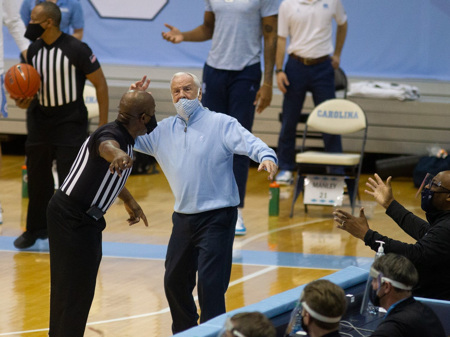 Coach Roy Williams argues with a referee during a game against Wake Forest in the Smith Center on Wednesday, Jan. 20, 2021. The Tar Heels beat the Demon Deacons 80-73.