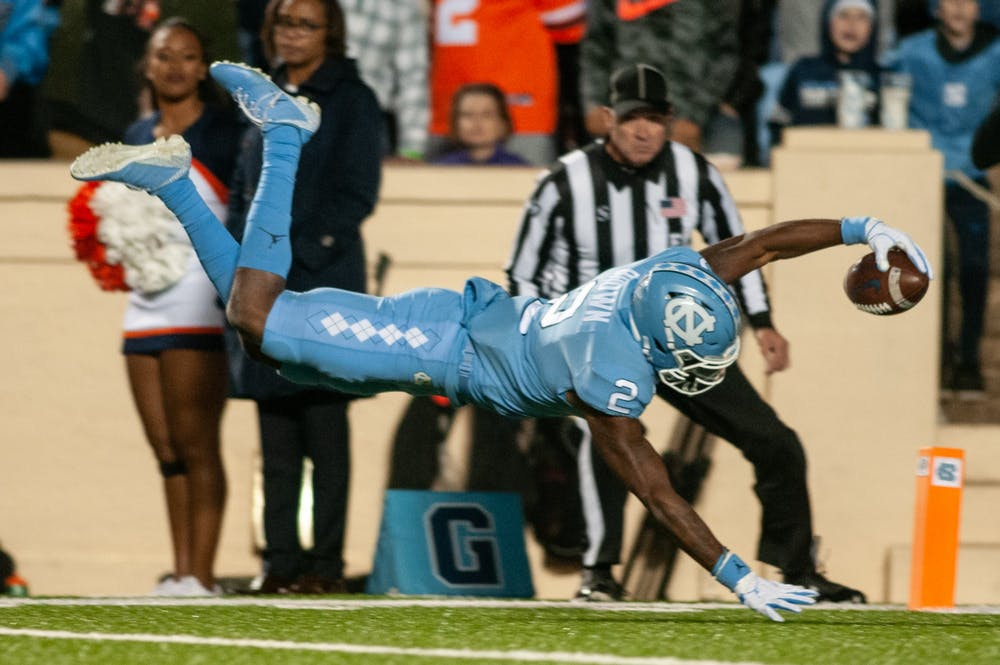 'He balled tonight': Dyami Brown shines in UNC football's 38-31 loss to Virginia