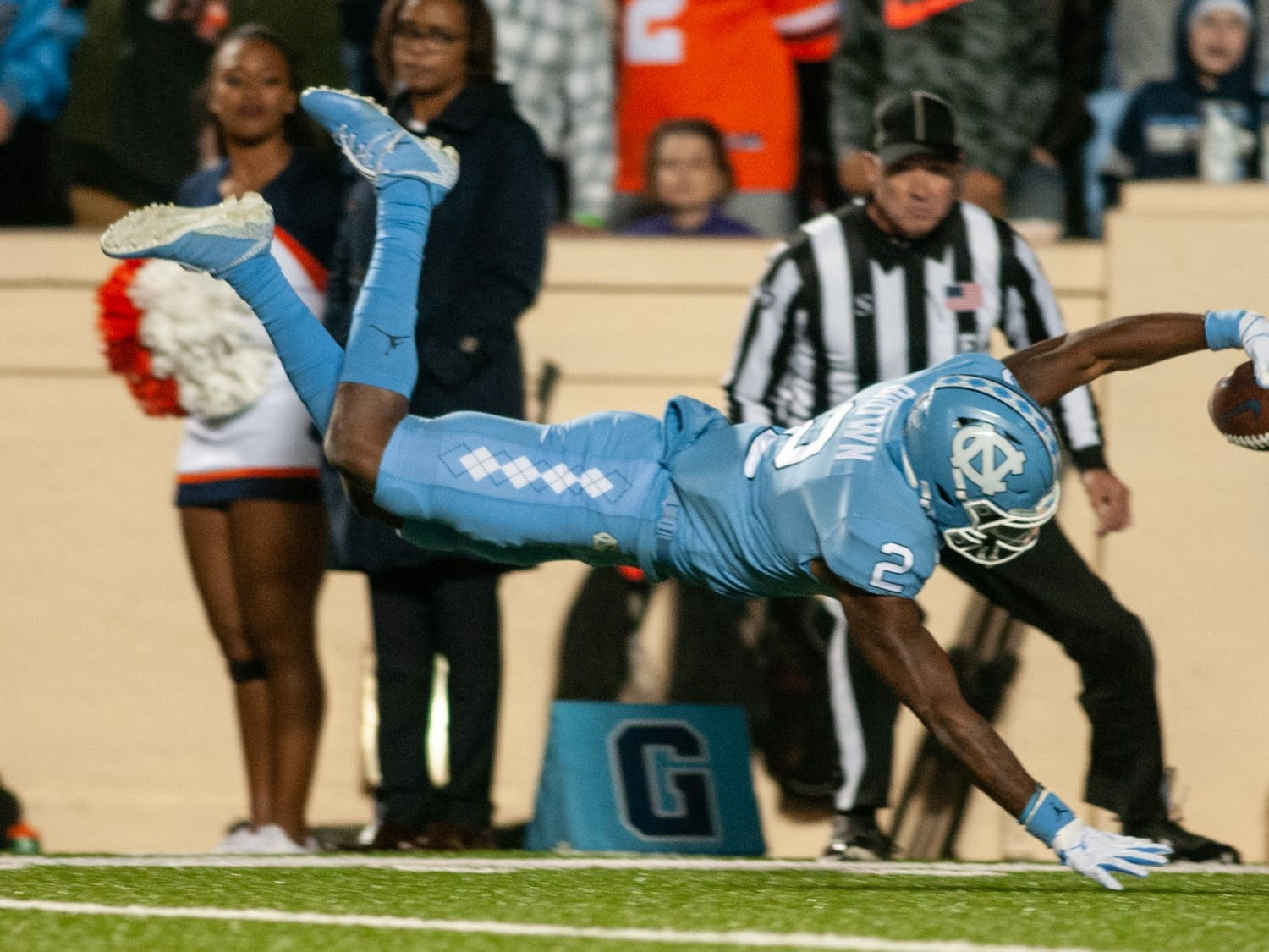 Wide receiver Dyami Brown (2) scores a touchdown during the game against Virginia on Saturday, Nov. 2, 2019.