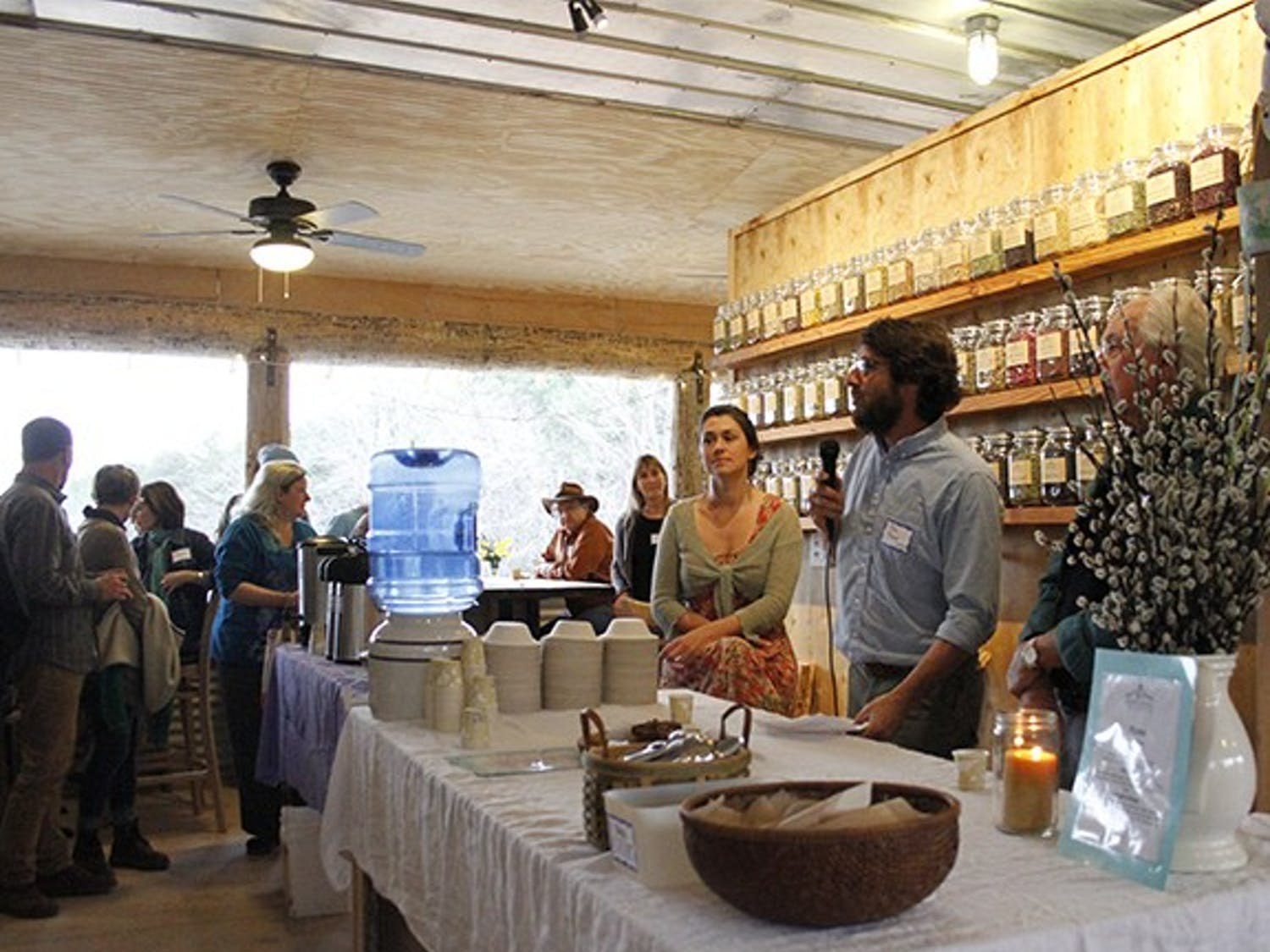 Tim & Megan Toben speak to friends and supporters of their project, The Honeysuckle Tea House outside of Carrboro in Chapel Hill, on Saturday March 22nd 2014. The Tea House is a collaborative project that began with a kickstarter page. It's set to open this March