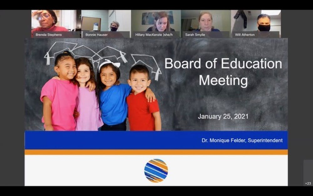 <p>Screenshot from the Orange County Schools Board of Education meeting held on Monday, Jan. 25, 2021.&nbsp;</p>