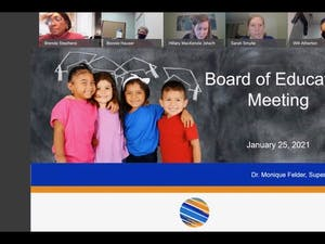 Screenshot from the Orange County Schools Board of Education meeting held on Monday, Jan. 25, 2021.