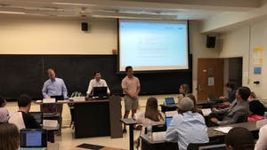 Student Body President Ashton Martin updates the 101st Undergraduate Senate at their second meeting of the year. Photo by Marco Quiroz-Gutierrez.