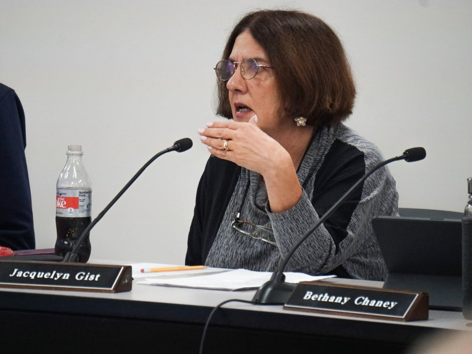 Carrboro Board of Aldermen member Jacquelyn Gist discussed numerous conditions for the proposed  development on Old Fayetteville Drive at the Carrboro Board of Aldermen meeting on Tuesday, Oct. 22, 2019.