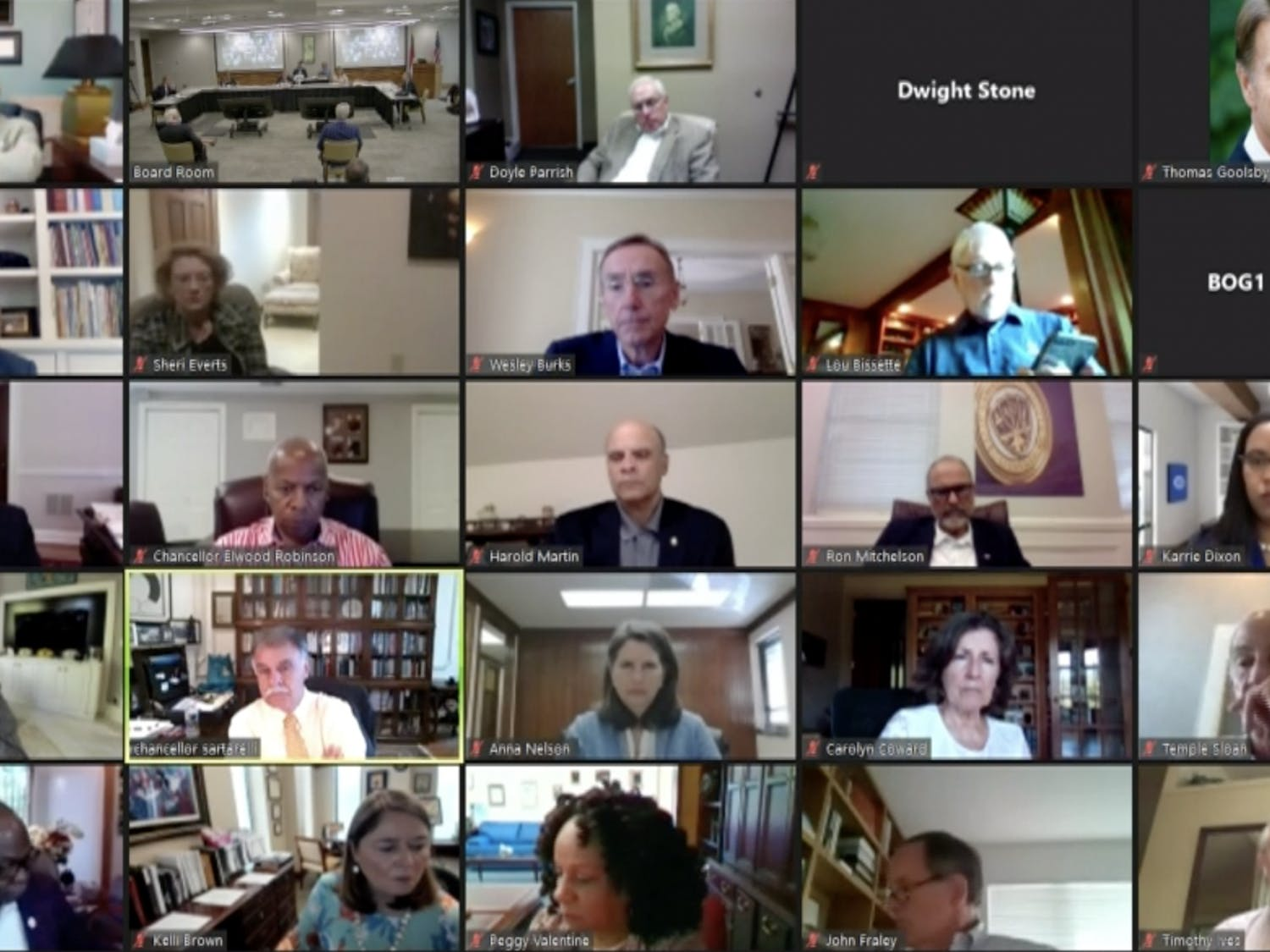 Screenshot of the Board of Governors meeting July 23, held in person and over video conference.