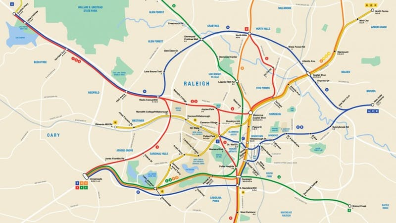 There is a possibility of a subway system in Raleigh. Map courtesy of Nicholas Sailer.