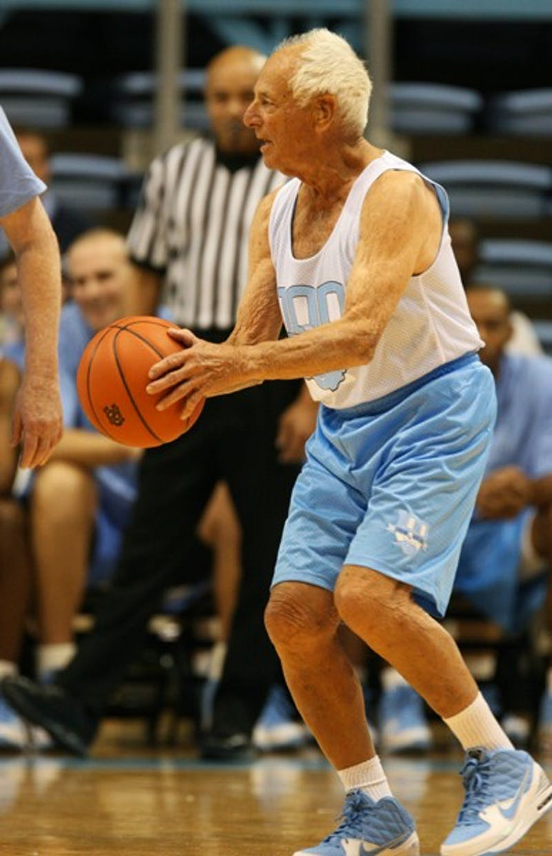 Bobby Gersten handles the ball near the beginning of Friday night's exhibition game. DTH/ill cooper