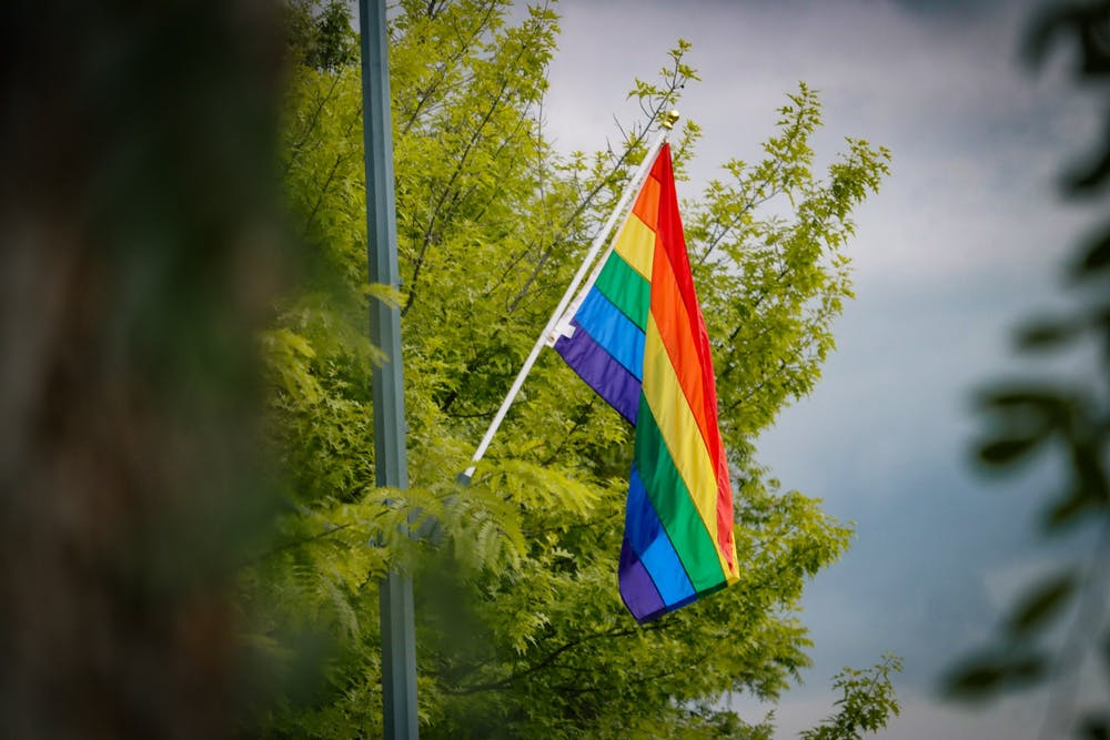 A rainbow flag hangs on Franklin Street on June 3.