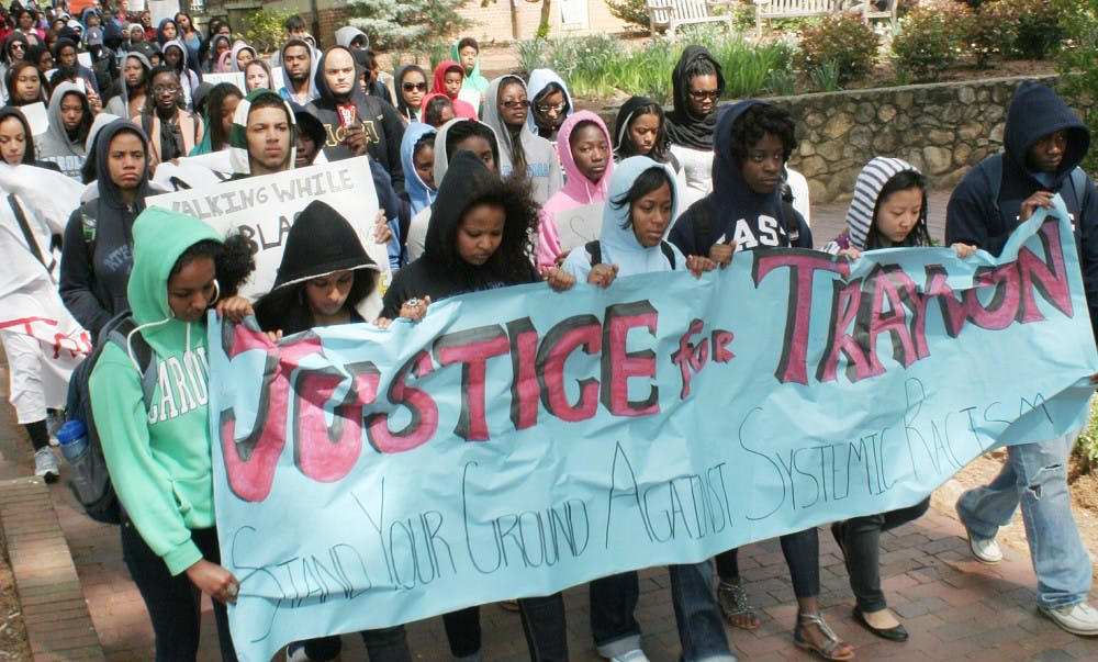 Trayvon Martin's memory was honored at UNC with a Franklin Street march