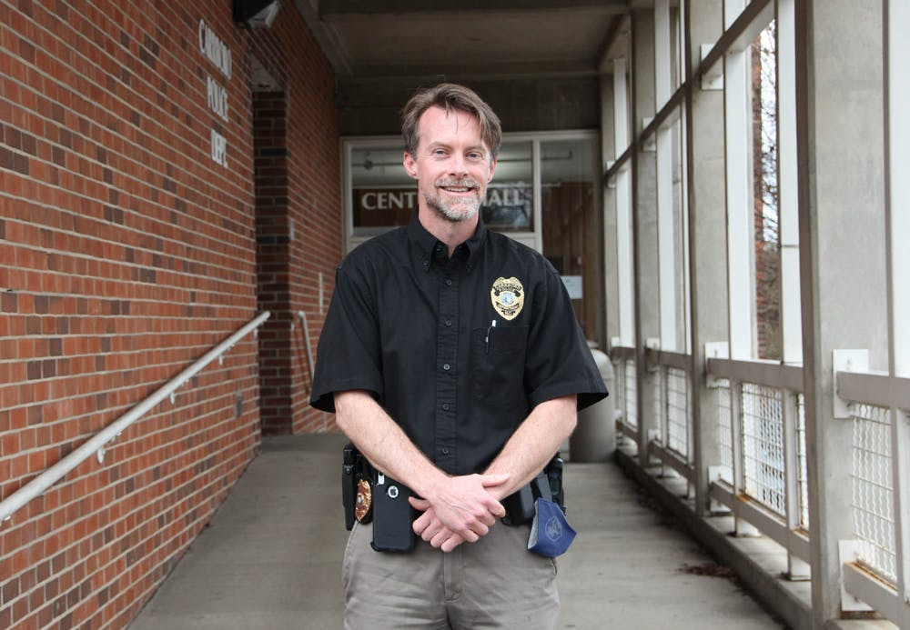 Carrboro Police Chief Chris Atack poses for a portrait outside of the Carrboto Police Department office on March 1, 2021. Atack was appointed Police Chief after the retirement of Walter Horton.