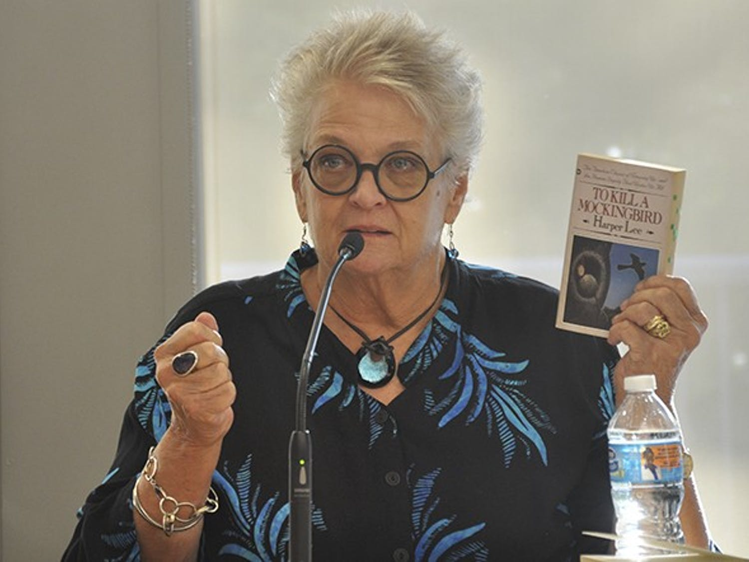 """Author Anna Jean Mayhew speaks at a panel on Harper Lee and her new novel, """"Go Set a Watchman,"""" at the Chapel Hill Public Library on Tuesday evening."""
