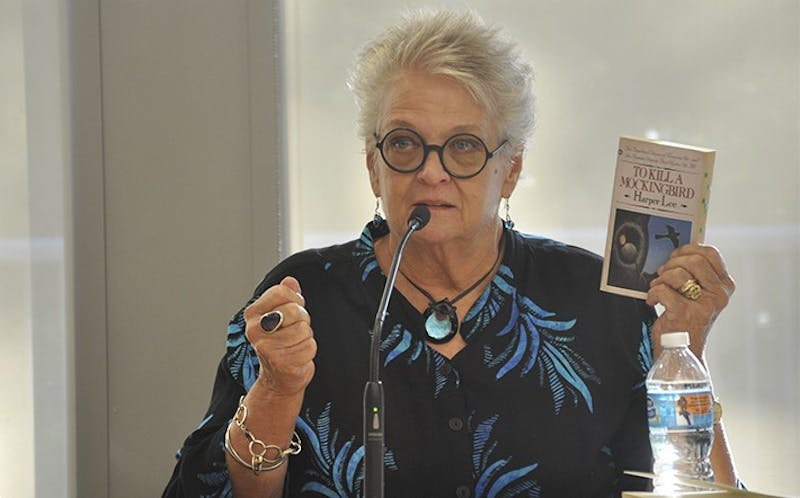 "Author Anna Jean Mayhew speaks at a panel on Harper Lee and her new novel, ""Go Set a Watchman,"" at the Chapel Hill Public Library on Tuesday evening."