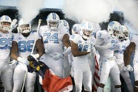 The UNC football team appears in the tunnel before the game against Virginia Tech on Saturday, Oct. 13, 2018 in Kenan Memorial Stadium. Virginia Tech defeated UNC 22-19.