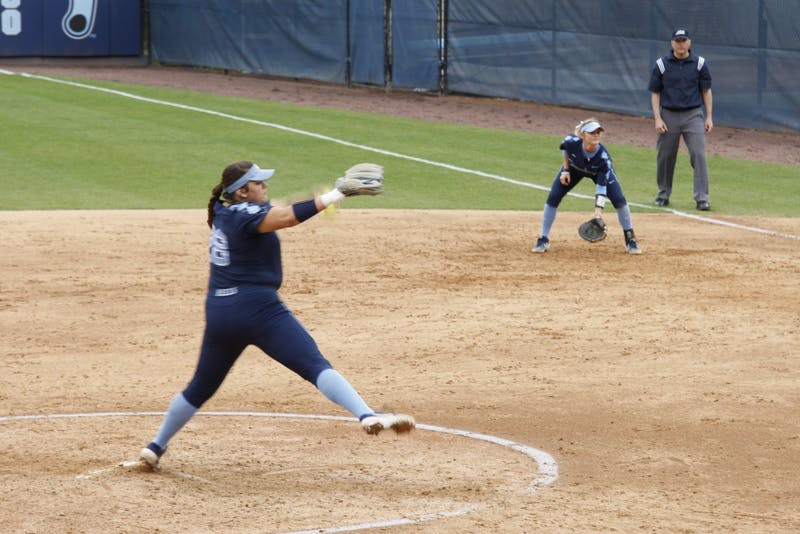 Junior pitcher Brittany Pickett (28) winds up for a nice pitch during the UNC's softball win against Virginia on Saturday, Apr. 6, 2019.