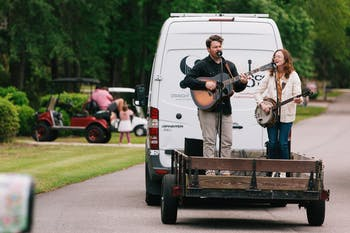 Chatham Rabbits, an NC-based folk duo, go around the state in a van to perform socially distanced concerts. Photos by Will Cooper.