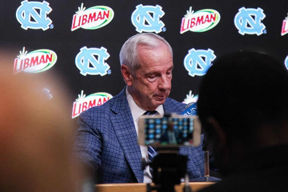 UNC's men's basketball coach Roy Williams discusses the game against Clemson at the Dean Smith Center on Saturday, Jan. 11, 2020. Clemson defeated UNC for the first time in Chapel Hill 79-76.