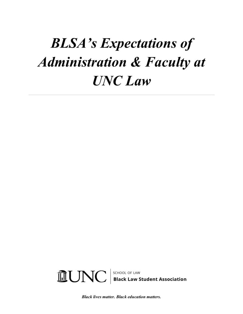 BLSA's Expectations of Administration & Faculty at UNC Law