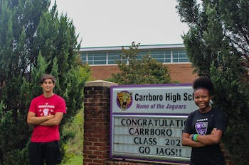"""Carrboro High School seniors Navia Mosley and Phoenix Tudryn are two of the students who recently launched The Black and Brown Student Coalition podcast about living as a student of color right now during the pandemic. """"We wanted to give a voice to the black and brown kids in our school to be able to speak to teachers directly as to what they can do better to support them,"""" Tudryn said."""