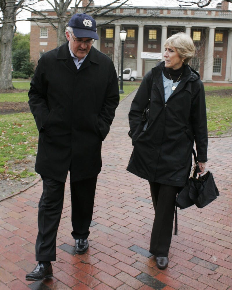 Susan King, the new Dean of the School of Journalism and Mass Communications, goes on a walking tour of the campus with the Associate Dean Speed Hallman.