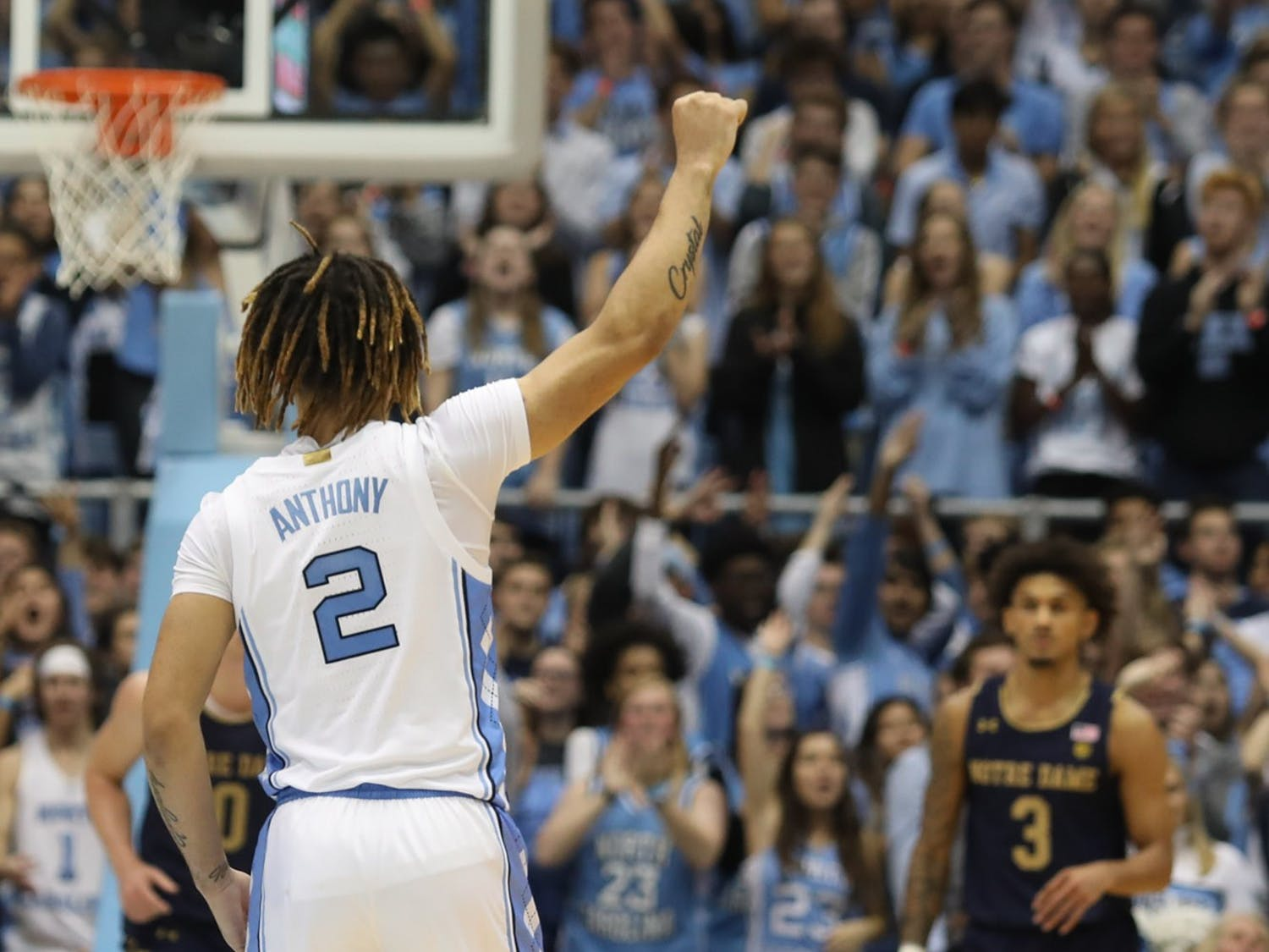 UNC guard Cole Anthony (2) celebrates after shooting a three-pointer on Nov. 6th, 2019 at the Dean E. Smith Center. UNC beat Notre Dame 76-65. Anthony scored 34 points, the most points in any player's first game in Tar Heel history.