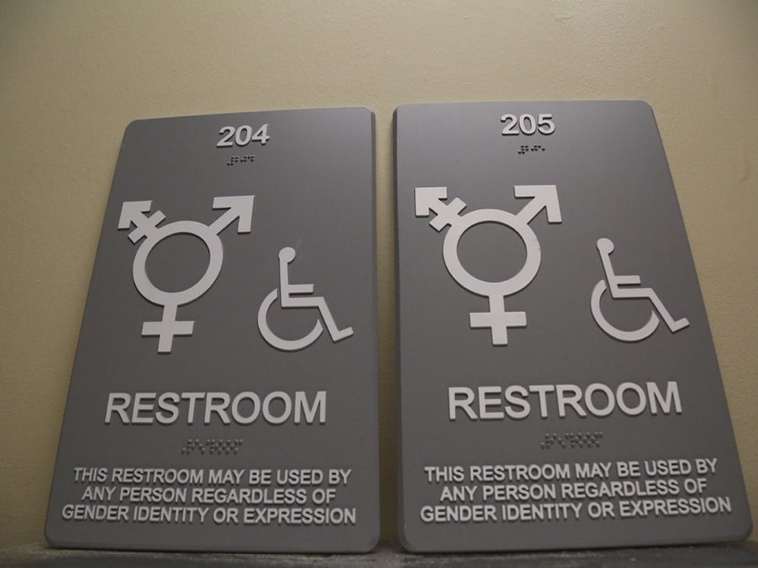 The Campus Y propped up the temporary gender neutral restroom signs on the fire extinguisher. They will replace the old ones with the new gender neutral signs in a few days.