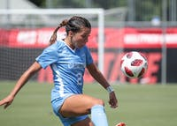 Sophomore forward Sydney Spruill juggles the ball in UNC's 3-2 exhibition win over N.C. State on Aug. 9 in Raleigh.