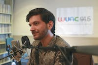 Will McInerney recorded a new podcast with Mohammed Moussa (not pictured) at WUNC Studios in Chapel Hill on Friday. The podcast will cover issues such as social justice and cultural inequality and is part of a series called Stories With a Heartbeat that is set to be released this spring.