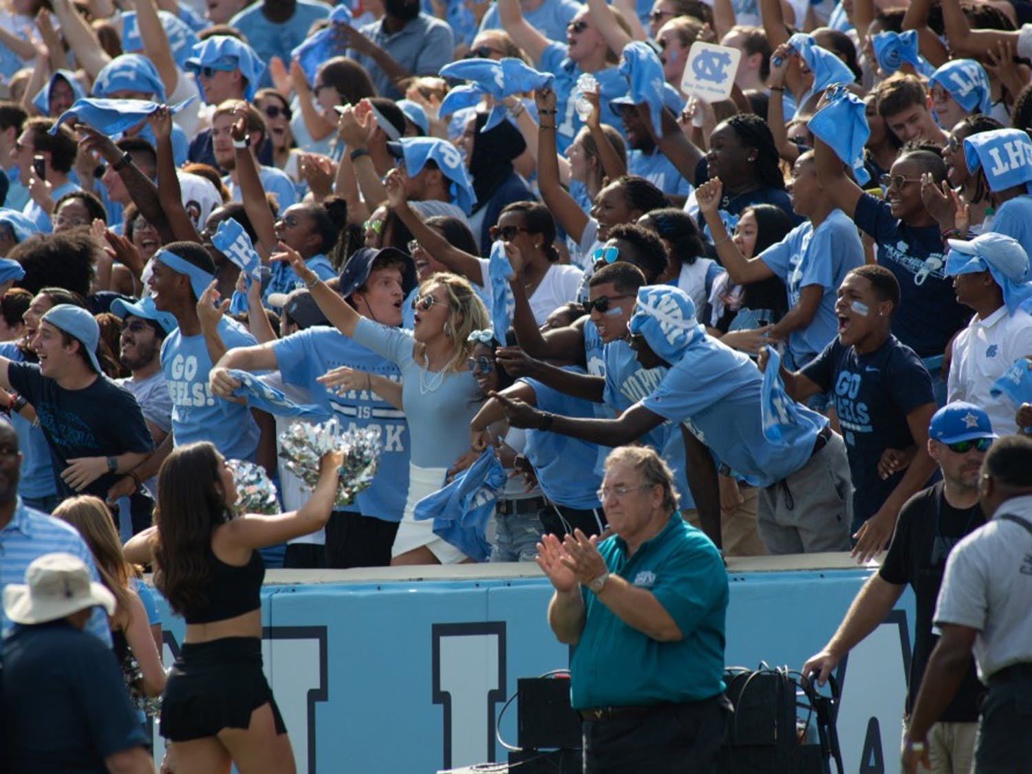 UNC's student section cheers on their team. UNC and No.1 Clemson faced off on Saturday, Sept. 28, 2019 in Kenan Memorial Stadium. UNC fell short of ending Clemson's 19 game winning streak, 21-20.