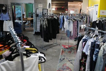 Soirée Style in Chapel Hill allows customers to check prices of consignment items by scanning QR codes with their app.