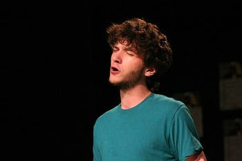 """Will McInerney performs at an event in Greensboro called """"Freedom Slam."""" Photo courtesy of Will McInerney"""