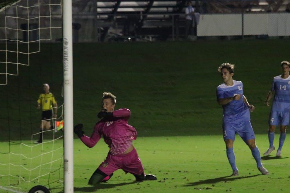 UNC men's soccer bounces back with 4-0 shutout of Winthrop