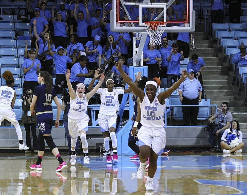 North Carolina guard Jamie Cherry (10) celebrates after the final buzzer on Thursday. Cherry hit a 3-pointer with two seconds left to life the Tar Heels over Georgia Tech.