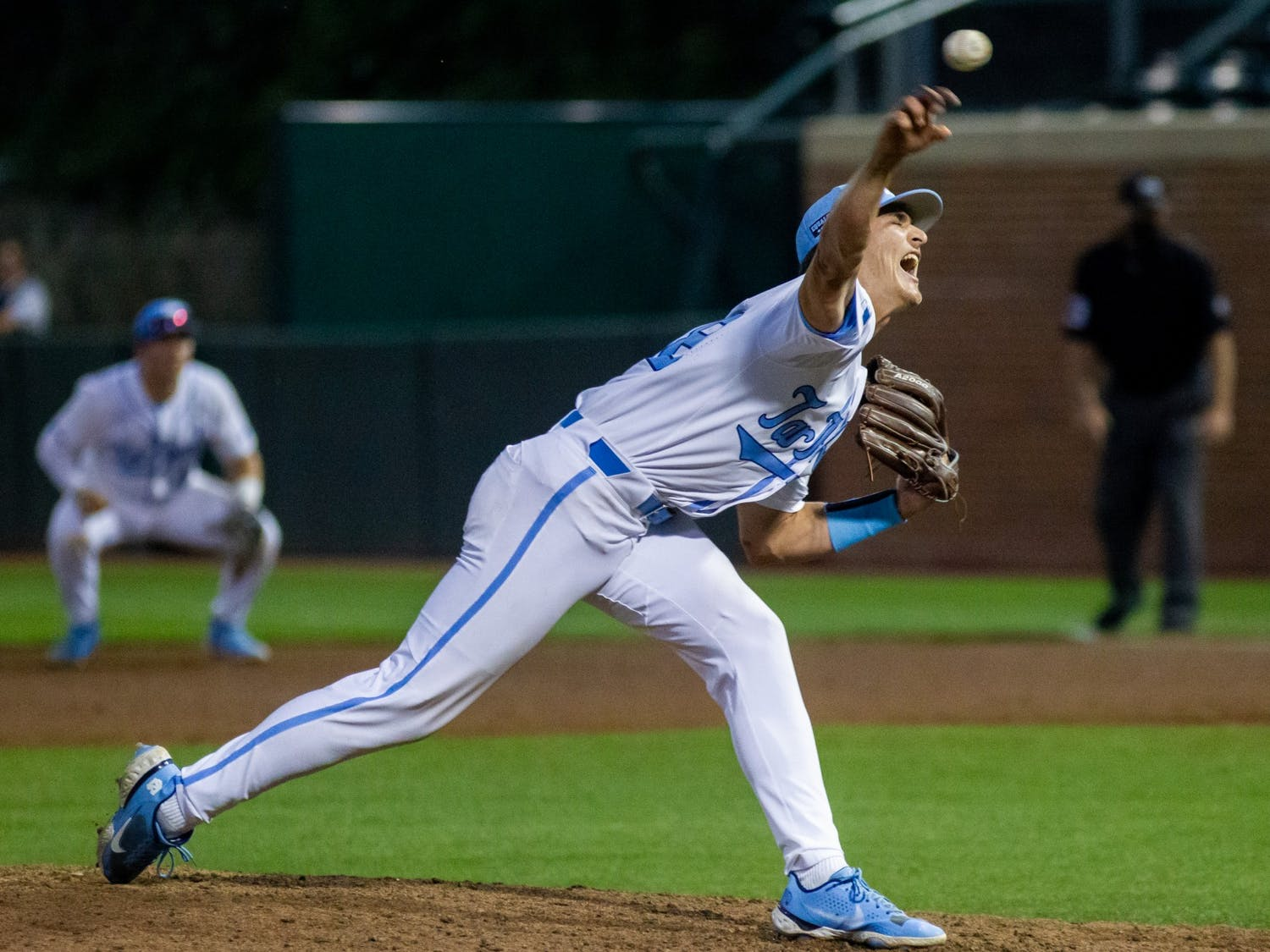 UNC sophomore right handed pitcher Nik Pry (36) throws the ball at the game against UNCW on Tuesday May 18, 2021 at Boshamer stadium. The Tar Heels won 14-9.