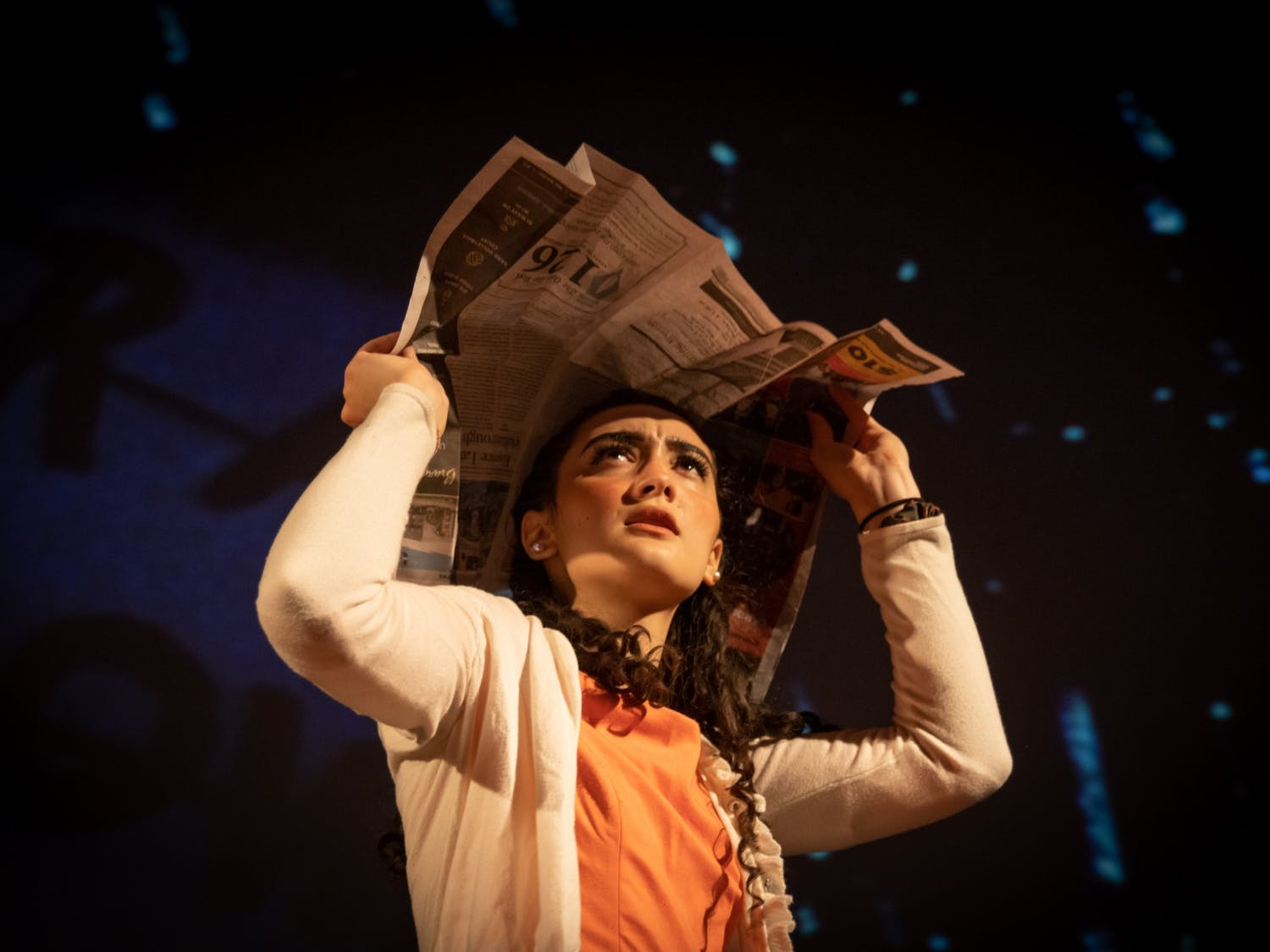 UNC sophomore Isabella Patterson portrays Janet Weiss during an Oct. 26 technical rehearsal of the Rocky Horror Picture Show at the Varsity Theatre. The production is an annual tradition of the UNC Pauper Players.