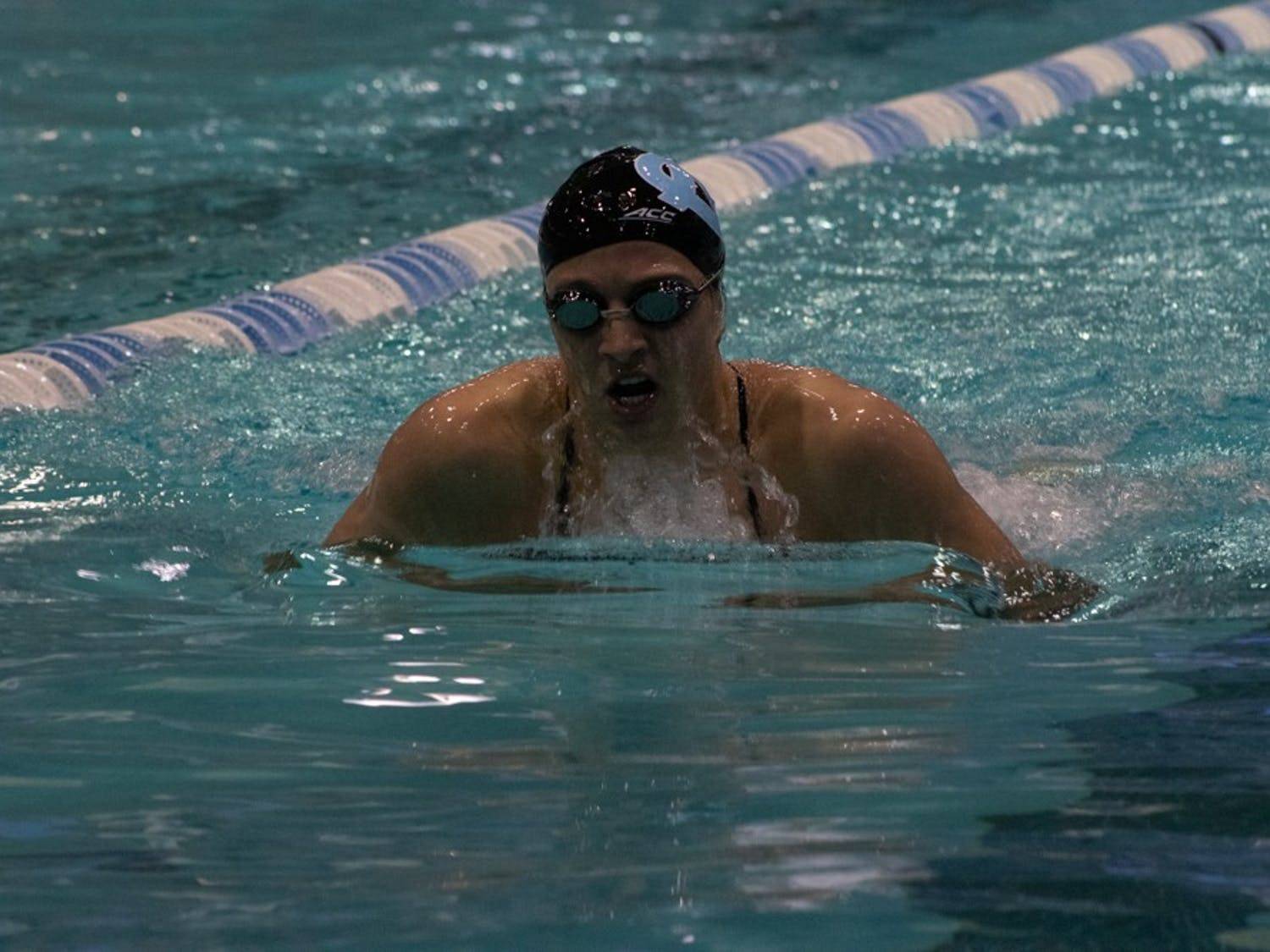 Sophomore, Lilly Higgs competes in the Women's 200 Yard Breastroke event against Georgia on Friday, Oct. 25, 2019