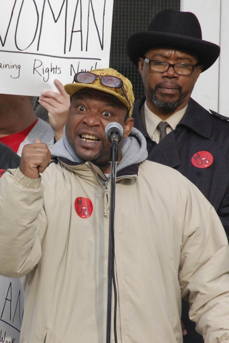 Clyde Clark, former Chapel Hill sanitation worker, speaks on his unjust termination at Monday