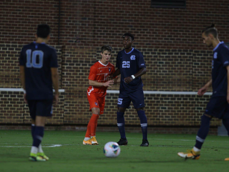 UNC men's soccer team faced off against Clemson at Dorrance Field on Friday, Oct. 9, 2020. UNC won 1-0.