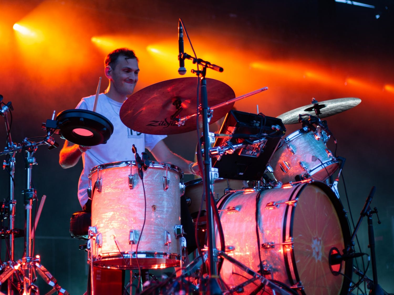 Joe Seaward, drummer for Glass Animals, plays a song in Carrboro, NC on Aug. 28.