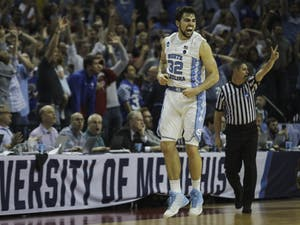 North Carolina forward Luke Maye (32) celebrates seconds after he hit the game winning shot in the NCAA Elite Eight game against Kentucky in Memphis on Sunday.