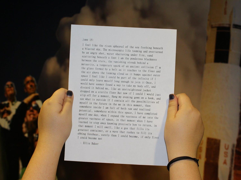 A poem written by Ellie Baker. Photo courtesy of Hannah Whittington.