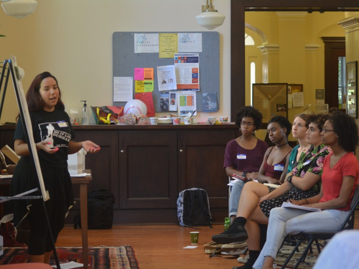 Alissa Ellis, Deputy Director of the Southern Vision Alliance and UNC Law alum, leads a workshop on activism during the Campus Y Ethical Domestic Service Orientation on Saturday morning