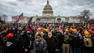 Pro-Trump protesters gather in front of the U.S. Capitol Building on January 6, 2021 in Washington, DC. A pro-Trump mob stormed the Capitol, breaking windows and clashing with police officers. (Photo by Jon Cherry/Getty Images/TNS)