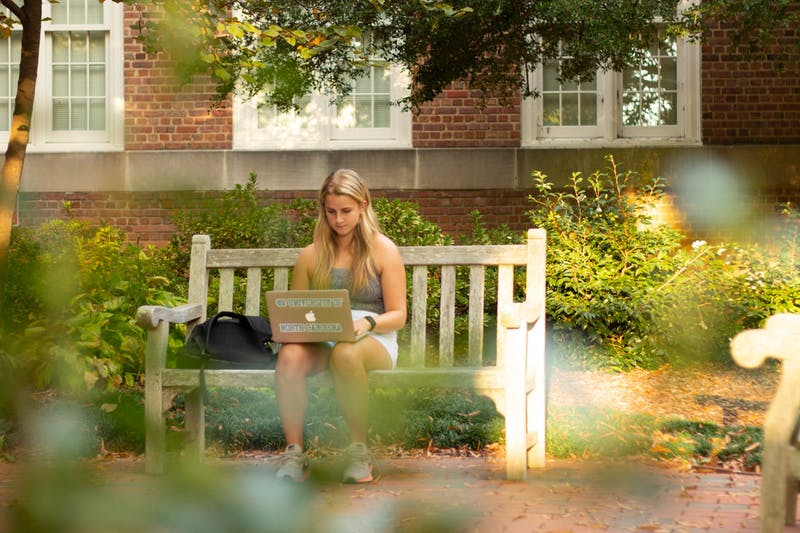 UNC freshman Sara McClure poses for a portrait while studying on campus on Tuesday, Oct. 27th, 2020.