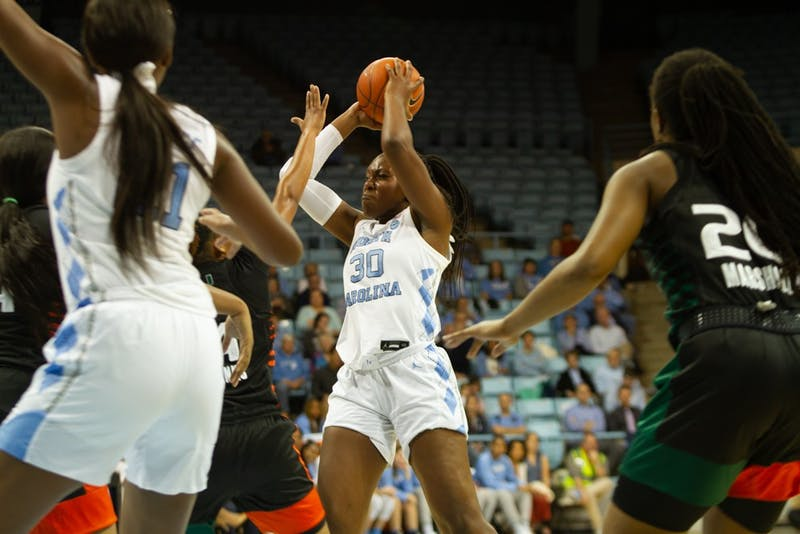 Junior center Janelle Bailey (30) prepares to shoot the ball against Miami in Carmichael Arena on Thursday, Jan. 16, 2020. The Tar Heels won 78-58 against the Miami Hurricanes.