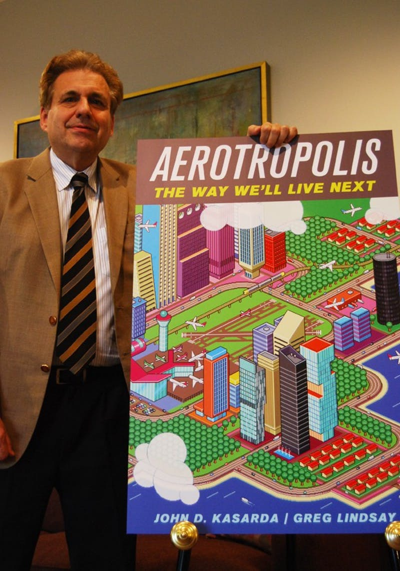 """Dr. John D. Kasarda, author of """"Aerotropolis"""" and Director of the Kenan Institute of Private Enterprise, has published more than 100 articles and nine books on airport cities, aviation infrastructure, and economic development. He coined the term 'aerotropolis,' which stresses placing airports in the center with cities growing around them. Recently, he was cited in Times Magazine's article on '10 Ideas that will Change the World.'"""