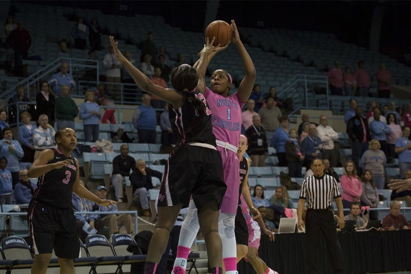Sophomore forward Stephanie Mavunga (1) takes a shot during North Carolina's matchup against Wake Forest.