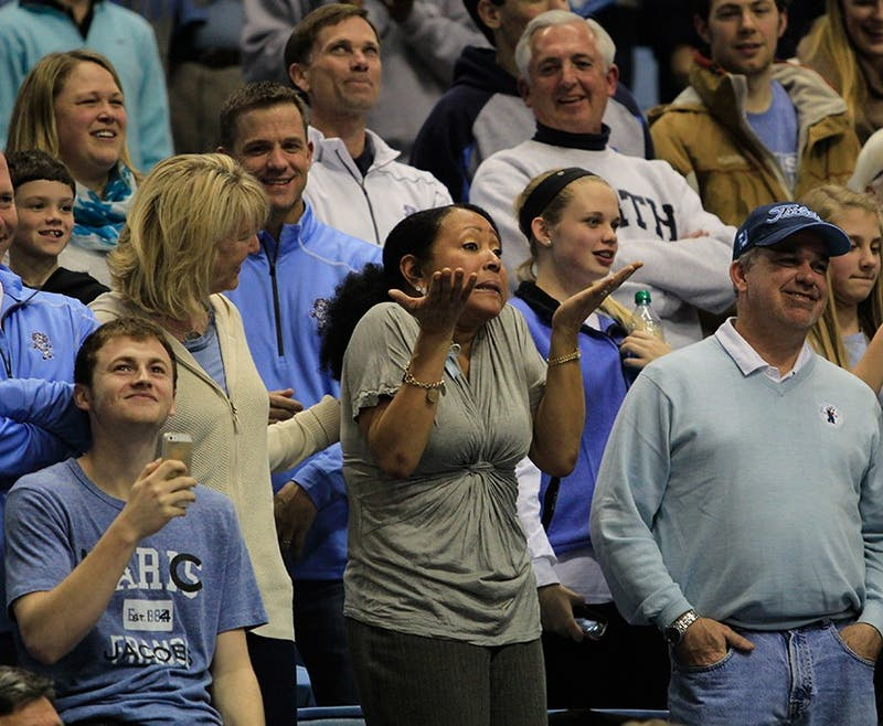 Denzel Robinson's mother becomes emotional as her son gives a speech on Senior Night. The Tar Heels beat the Fighting Irish 63-61 Monday.