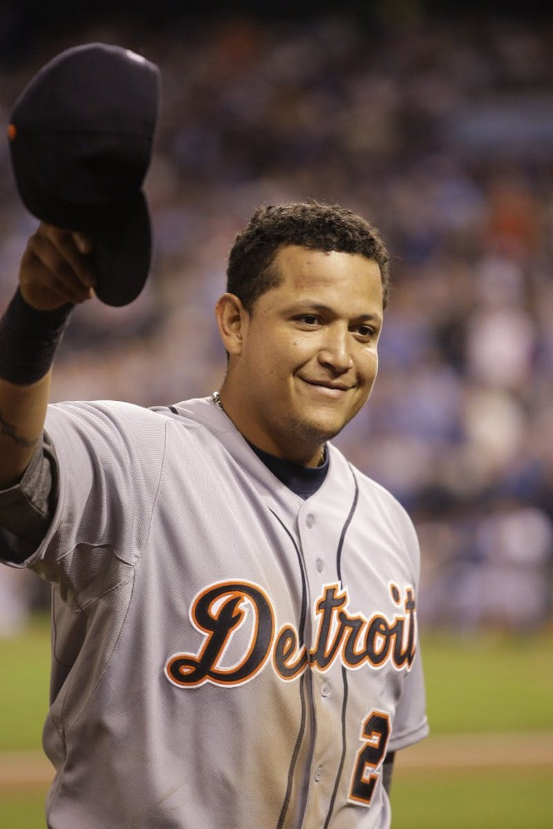 Detroit Tigers third baseman Miguel Cabrera tips his hat to the crowd after coming out of the game in the fourth inning against the Kansas City Royals on Wednesday, October 3, 2012, at Kauffman Stadium in Kansas City, Missouri. (Julian H. Gonzalez/Detroit Free Press/MCT)