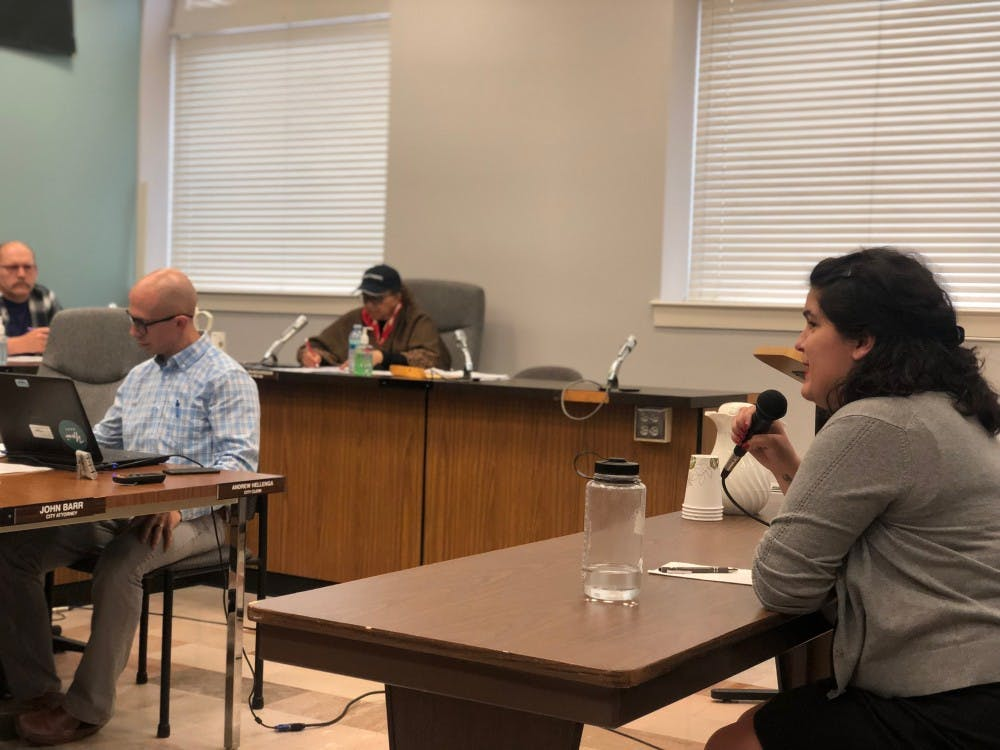 Annie Somerville, a candidate for the 3rd Ward seat, speaks to council on her experience in Ypsilanti as a graduate of Eastern Michigan University on Tuesday, May 28.