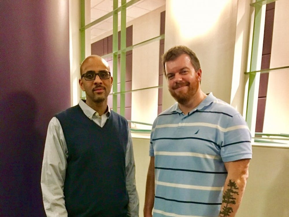 From left to right: Stephen Ward, Ph.D., assistant professor of Afro-American and African Studies at the University of Michigan and Michael Doan, assistant professor of philosophy.